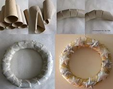 Having trouble finding a (cheap) wreath...DIY Wreath form; made with toilet paper rolls.