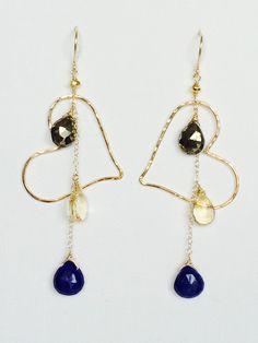 Heart chandelier earring with gemstone tassel- Pyrite, citrine & Lapis lazuli.