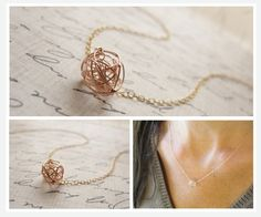Little rose gold tangle ball necklace - simple rose gold necklace. $26.00, via Etsy.