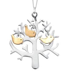 Platinum and Yellow Gold Overlay Sterling Silver Tree and Birds Pendant With Chain, Silver wt 7.15 Gms. | TJC
