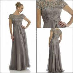 2015 New Custom Jewel Short Sleeves Sheath Mother Of The Bride Evening Dress  #Dress