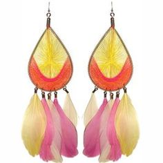 "7 3/4"" Long Feather Earrings with String Woven Teardrop Top in Orange with Yellow Finish."
