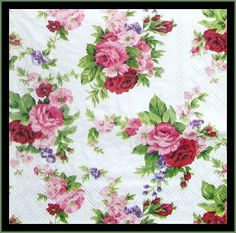 Floral Decoupage Napkins, Pink Roses, lot of 4 napkins tissue paper napkins, floral napkins, fancy dinner napkins Decoupage Glass, Paper Napkins For Decoupage, Decoupage Ideas, Paper Serviettes, Napkin Rose, Shabby Chic Paper, Decorative Napkins, Red And Pink Roses, Pink Yellow
