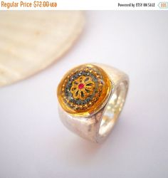 Gold Grey flower silver ring Sterling silver with gold filigree flower & pink stone, Silversmith jewelry, israeli jewelry, Gift bag included