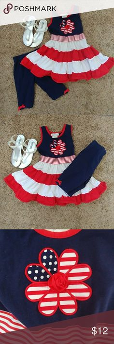 Dress and legging outfit This listing is for a size 6 girls Emily Rose red white and blue dress and legging combo. Warned several times but in beautiful condition. Shoes are not included in the listing. Perfect for Fourth of July and other summer activities. Emily Rose Dresses Casual