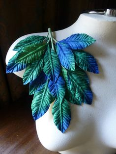 Velvet Leaves Large in Blue Green Ombre for Bridal, Boutonierres, Bouquets, Millinery ML 133bg