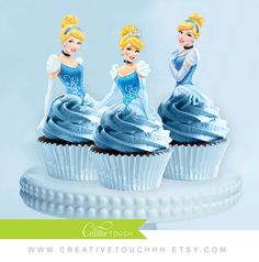 Cinderella Cupcake Toppers, Princess Cinderella, Disney Princess, Cinderella Birthday, Cinderella Party, Cinderella Cake Topper, Decoration by CreativeTouchhh on Etsy https://www.etsy.com/listing/232763260/cinderella-cupcake-toppers-princess