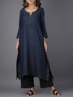 Buy vy Blue Navy Asymmetrical Linen Kurta with Beads and Sequins Women Kurtas A Touch of Elegance pants bead work embroidery Online at Jaypore.com