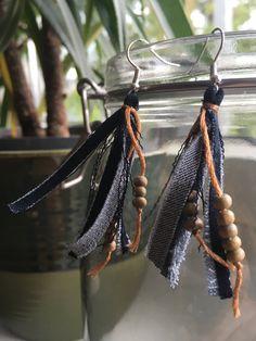 Denim tassel recycled earrings by ByDashka on Etsy