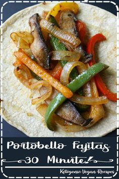 Quick and easy Portobello Fajitas make a flavorful, satisfying weeknight meal! Personalize them with your own favorite toppings! Healthy Crockpot Recipes, Healthy Eating Recipes, Spicy Recipes, Easy Healthy Recipes, Quick Easy Meals, Salmon Recipes, Asian Recipes, Vegan Recipes Plant Based, Salad Recipes For Dinner