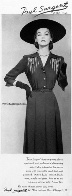 Early 1950s daywear elegance at its finest (Paul Sargent fashions ads, 1951.) #vintage #1950s #fashion #dress