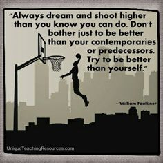 """""""Always dream and shoot higher than you know you can do. Don't bother just to be better than your contemporaries or predecessors. Try to be better than yourself.""""   ~ William Faulkner  (Download a FREE one page poster for this quote on:  http://www.uniqueteachingresources.com/Quotes-About-Learning.html)"""