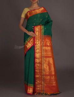 Shama Leafy Green Burnt Orange #GadwalSilkCottonSaree