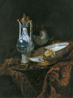 Willem Kalf Still Life with Ewer and Basin, Fruit, Nautilus Cup and Other Objects ca. 1660 Oil on canvas. 111 x 84 cm Museo Thyssen-Bornemisza, Madrid INV. Nr. 204 (1981.77