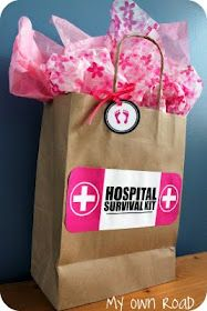 My Own Road: The Hospital Survival Kit for new mothers (with printables).  I love this and I'm pretty sure you could make your own labels for other illnesses (not just labor and delivery) that could perk up anyone hospital stay.