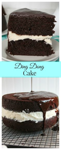 Ding Dong Cake-rich devil's food cake, a vanilla cream filling and smothered in chocolate ganache! Just like the snack cake you remember from childhood!