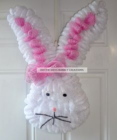 Easter Bunny Mesh Wreath by dottiedot05 on Etsy, $65.00