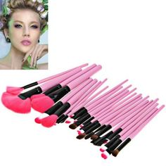 Fashion 24PCS Pink Soft Nylon Hair #Make-up Brushes with Leather Bag-11.43 and Free Shipping| GearBest.com