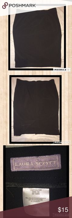 """Laura Scott- Black Pencil skirt. Size 12 Very nice pencil skirt. In excellent condition. 63% Polyester. 33% Rayon. 4% Spandex. Measurements: 23.5"""" length. 19"""" hip. 17.5"""" Waist. Laura Scott Skirts Pencil"""
