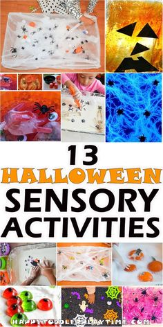 13 Halloween Sensory Activity Ideas - HAPPY TODDLER PLAYTIME #halloween #halloweenactivities #sensory #sensoryplay #sensorybin #toddler #toddleractivities #kindergarten #preschool #diy #kidsactivities #kidscraft #happytoddlerplaytime