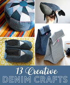 Diy Old Jeans, Old Jeans Recycle, Denim Crafts, Jean Crafts, Recycle Old Clothes, Leftover Fabric, Fun Projects, Sewing Projects, Clever