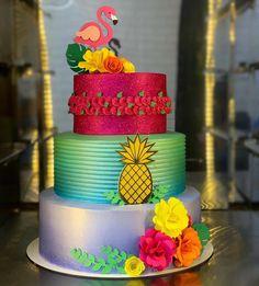 birthday surprise for him Hawaiian Birthday, Flamingo Birthday, Flamingo Party, Pool Party Cakes, Luau Party, Baby Girl 1st Birthday, 50th Birthday Party, Pinapple Cake, Hawaii Cake