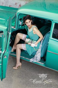 "Sally Laza for the upcoming ""Girls & legendary US-Cars"" 2016 calendar by Carlos Kella / SWAY Books. / Dress by Ave evA, Nyons by Ars Vivendi / Preorder your limited calendar at www.sway-books.de"