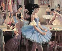 """Gallery Stretched Canvas Painting Reproduction For Sale Ballerina Girl, Size: 40"""" x 30"""", $188. Url: http://www.oilpaintingshops.com/gallery-stretched-canvas-painting-reproduction-for-sale-ballerina-girl-1223.html"""