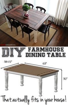 Build a stylish kitchen table with these free farmhouse table plans. They come in a variety of styles and sizes so you can build the perfect one for you. Farmhouse dining room table and Farm table plans. Diy Tisch, Diy Farmhouse Table, Rustic Farmhouse, Farm Table Diy, Farm Table Plans, Urban Farmhouse, Farmhouse Plans, Rustic Table, Farm Style Table