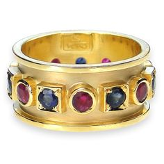 Sapphire and Ruby Band 18k Gold Ring