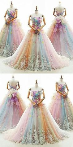 Ball Gown Prom Dresses Colorful Sweep/Brush Train Beautiful Prom Dress/Evening Dress JKL406 #annapromdress #prom #promdress #evening #eveningdress #dance #longdress #longpromdress #fashion #style #dress Beautiful Prom Dresses, Pretty Dresses, Colorful Prom Dresses, Purple Quinceanera Dresses, Quince Dresses, 15 Dresses, Evening Dresses, Bridesmaid Dresses, Formal Dresses