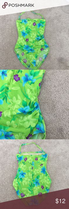 Neon Green Bathing suit Bathing suit with removable halter. Size 16. NWOT. Never worn. Has built in shelf bra with supports sewn in on each side of bust. Can be worn as a strapless one piece. Swim One Pieces