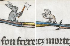 rabbit with an axe La Somme le Roy,France ca. 1290-1300. British Library, Add. 28162, fol. 12v