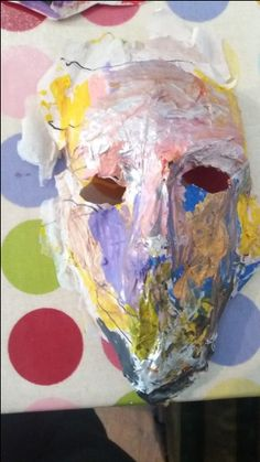 A brilliant mask from Saturday morning art class at Faux Arts