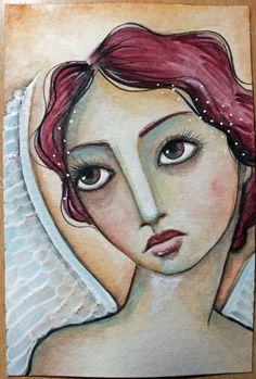 Original OOAK 4 x 6 Mixed Media Watercolor acrylic by Pennystamper