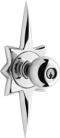 Mid-century modern door knob. There is a matching doorbell, too! @Natasha Murphy I thought you would like this.