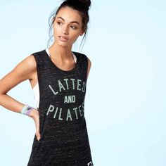 LATTES AND PILATES Drop Armhole Tank, Black Marl / Mint Pilates Studio, Gym Tops, Athleisure Wear, Perfect Fit, Athletic Tank Tops, Mint, Tees, Shirts, Drop