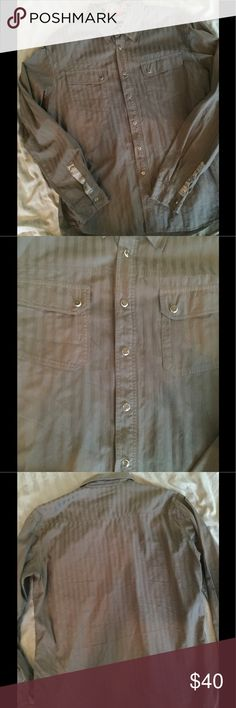 Solid grey Emporio Armani size XL Solid grey, pearl snap buttons.  Gently worn, great condition Emporio Armani Shirts Casual Button Down Shirts