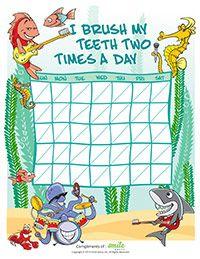 Ocean Motivational Brushing Chart for Pediatric Dentists