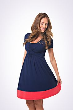 The Lonzi&Bean UltiMum maternity and breastfeeding dress in Navy-Coral Maternity Nursing Dress, Nursing Wear, Breastfeeding Clothes, Maternity Tops, New Mummy, Pregnancy Shirts, How To Feel Beautiful, Coral, Short Sleeve Dresses