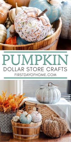 Easy Dollar Store Pumpkin Crafts- How to make DIY painted and decoupage pumpkins with dollar store foam pumpkins Dollar Tree Pumpkins, Foam Pumpkins, Dollar Tree Crafts, Painted Pumpkins, Diy Crafts Dollar Store, Fabric Pumpkins, Easy Fall Crafts, Diy Home Decor Easy, Easy Diy