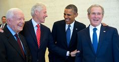 Portrait of four presidential men in dark suits and ties - Presidents Jimmy Carter, Bill Clinton, Barack Obama and George W. Bush, at the dedication of the the George W. Bush Presidential Library in Barack Obama, Jimmy Carter, Rachel Maddow, Michelle Obama, Joe Biden, American Presidents, American History, Black Presidents, American Life