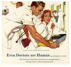 Even Doctors Are Human - Saturday Evening Post Leading Ladies, April 1954 Giclee Print by Robert Meyers Saturday Evening Post, Arte Pop, Norman Rockwell, Vintage Art, Vintage Romance, Vintage Drawing, Vintage Style, Pulp Fiction, Giclee Print