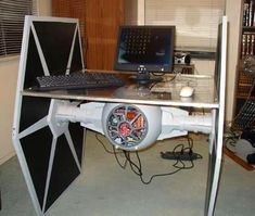 Best Star Wars computer desk ever! Great for a family room decorated in Star War theme.