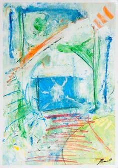 Entrada a casa modernista Mixed media on paper 50x70 Original work made by: Xavi Queralt