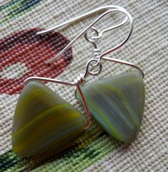 SALE Earrings of Stone and Silver Sage Green by JoJosgems on Etsy
