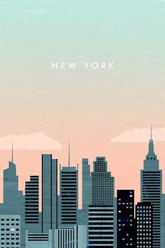 travel illustration New York Travel Poster New York Trip, Map Of New York, New York Travel, New York City, Mexico Travel, London Travel, New York Poster, City Poster, Editorial Illustration