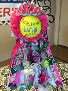 """10"""" Deluxe Softball Princess Homecoming Mum. Boling High School. Find Mum Event on Facebook. We create custom designs and ship all over the U.S."""