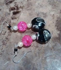Pink and Black glass with pearl.earrings.