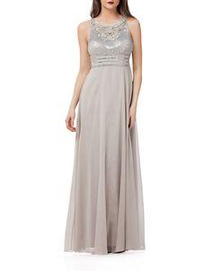 <ul><li> Embrace exquisite style in this empire gown</li> <li>Roundneck</li> <li>Sleeveless</li> <li>Beaded bodice</li> <li>Cinched empire waist</li> <li>Flowing A-line skirt</li> <li>Concealed back zip</li> <li>Lined</li> <li>Polyester </li> <li>Professional spot clean</li> <li>Imported</li><li>This item will arrive with a tag attached and instructions for removal. Once tag is removed, this item cannot be returned.</li></ul>